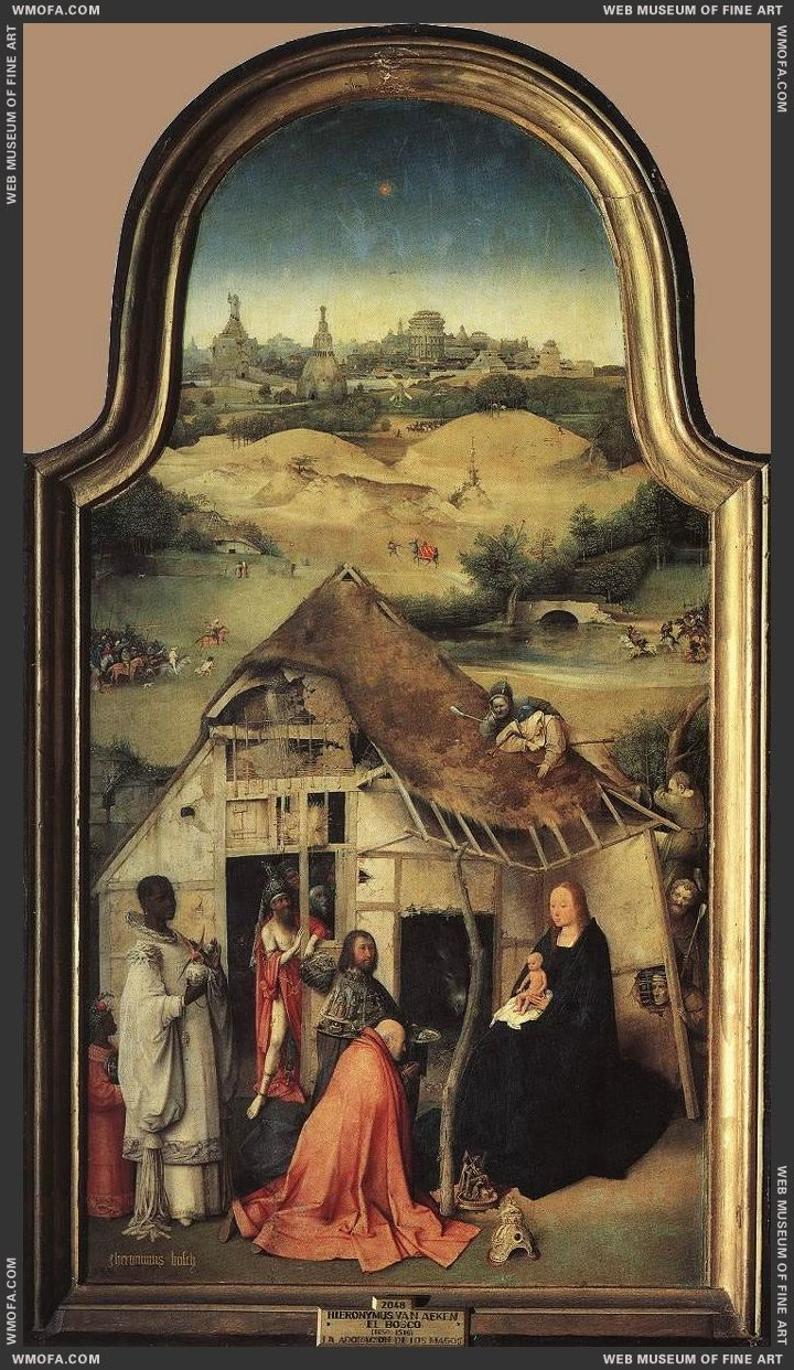 Epiphany triptych - central panel - The Virgin and Child and the Three Magi c1510 by Bosch, Hieronymus