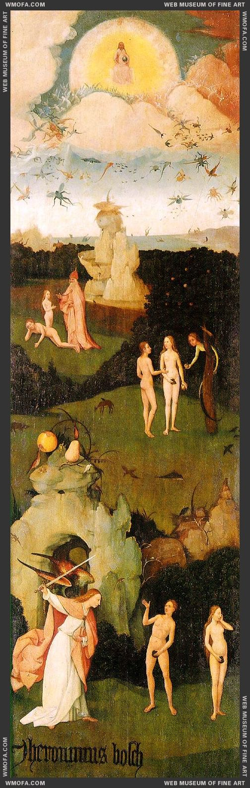 Haywain triptych - left wing - Paradise 1485-1490 by Bosch, Hieronymus