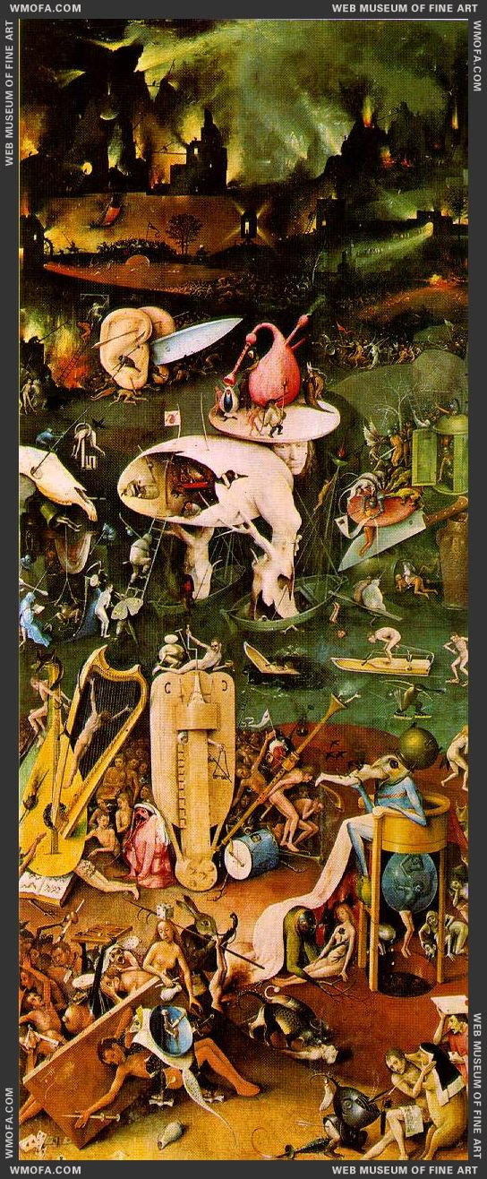 The Garden of Earthly Delights - right wing - Hell c1504 by Bosch, Hieronymus