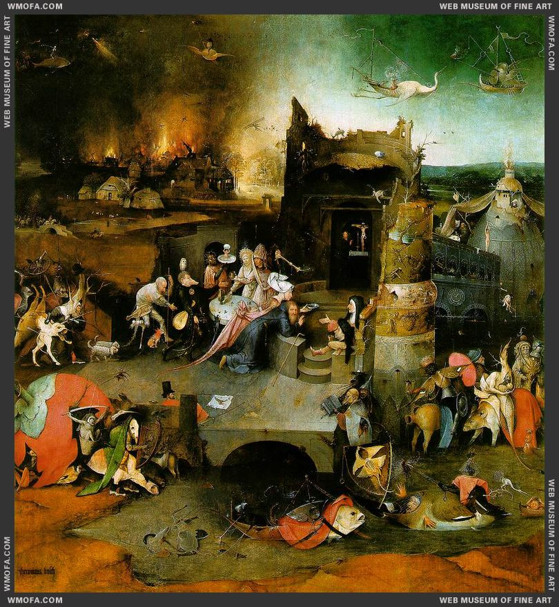 The Temptation of St Anthony - central panel - Temptation of St Anthony c1500 by Bosch, Hieronymus