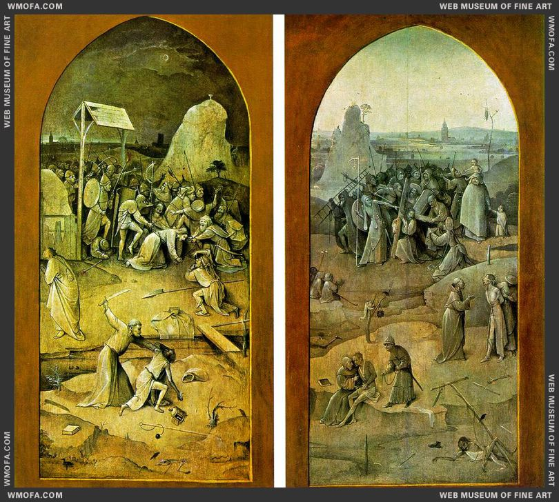 The Temptation of St Anthony - outer wings - left Arest of Christ - right Christ Carrying the Cross c1500 by Bosch, Hieronymus