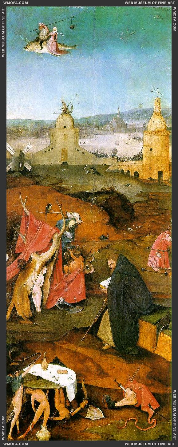 The Temptation of St Anthony - right wing - St Anthony in Meditation c1500 by Bosch, Hieronymus