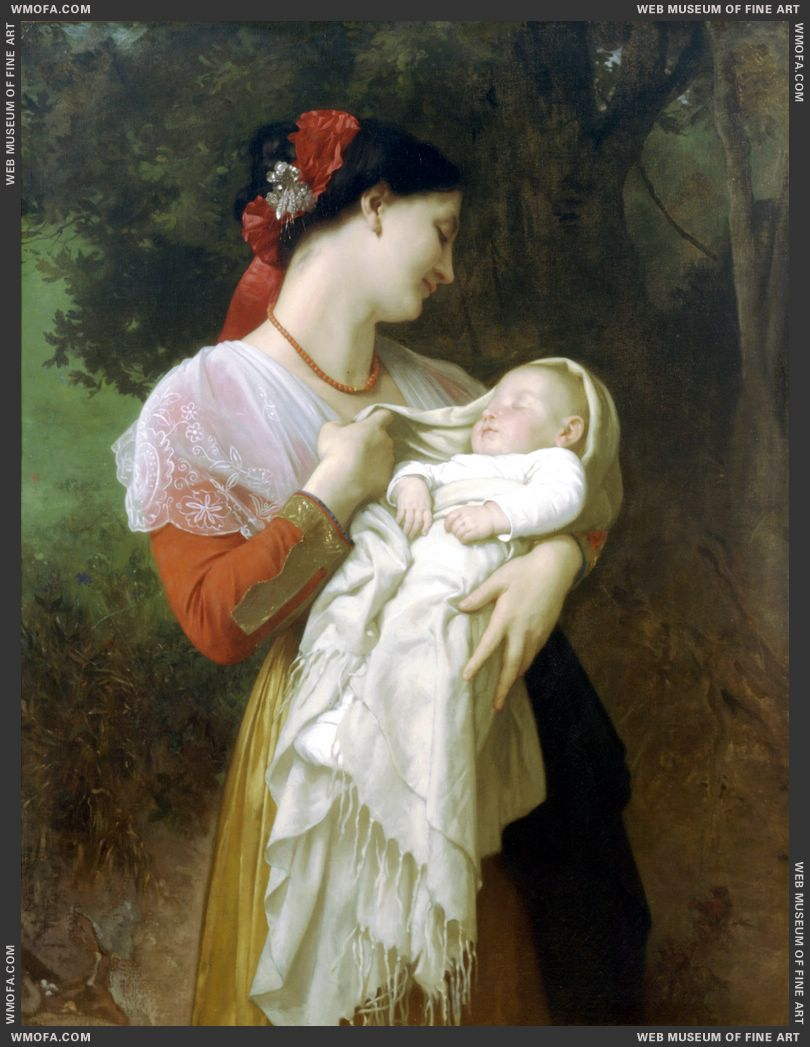 Admiration Maternelle - Maternal Admiration 1869 by Bouguereau, William