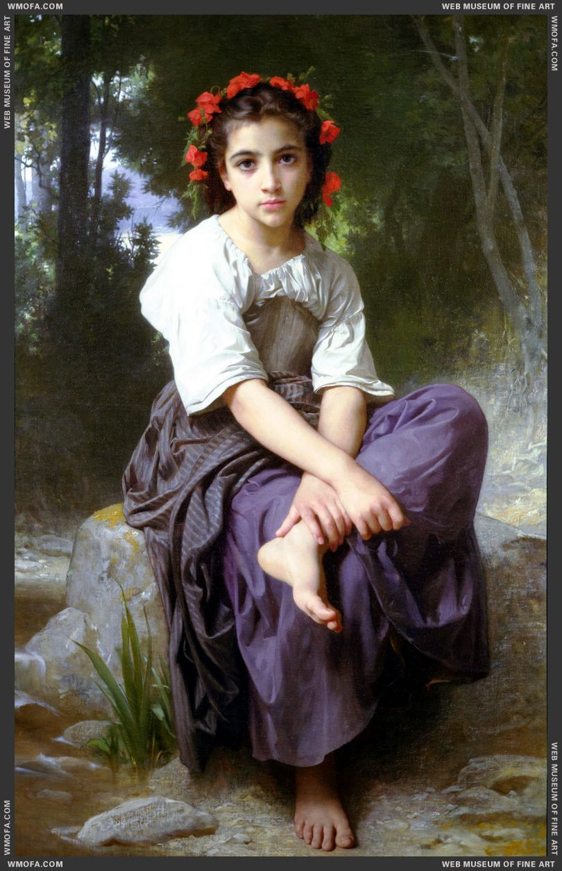 Au Bord du Ruisseau - At the Edge of the Brook 1875 by Bouguereau, William