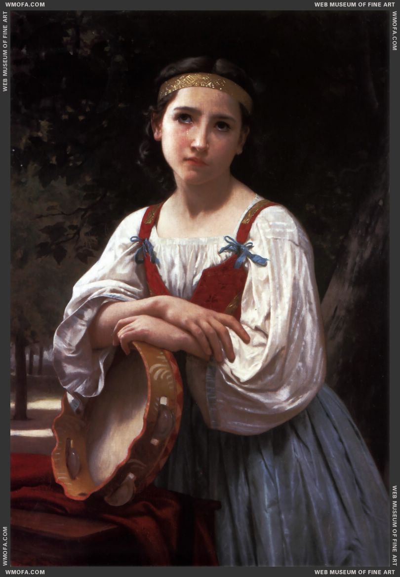 Bohemienne au Tambour de Basque - Gypsy Girl with a Basque Drum 1867 by Bouguereau, William