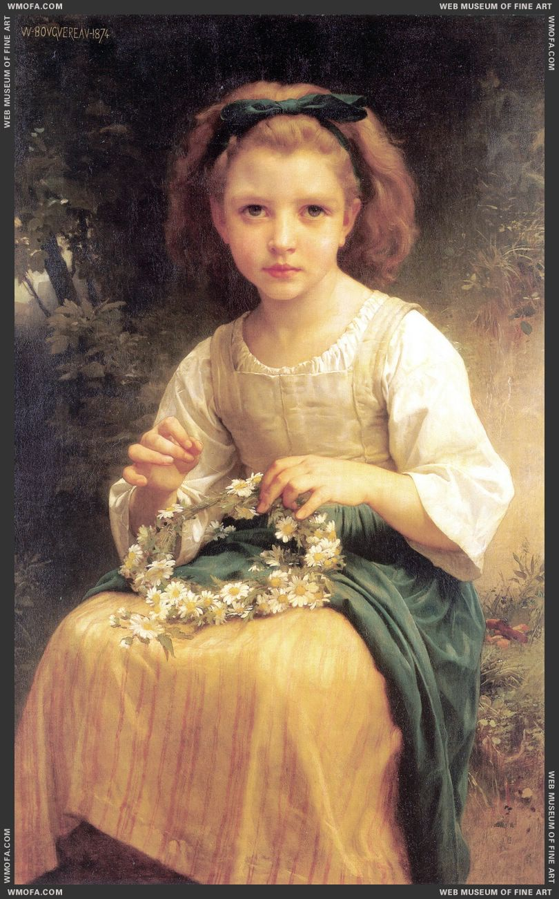 Enfant Tressant Une Couronne - Child Braiding a Crown 1874 by Bouguereau, William
