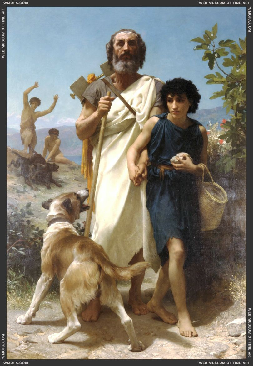 Homere et son Guide - Homer and his Guide 1874 by Bouguereau, William
