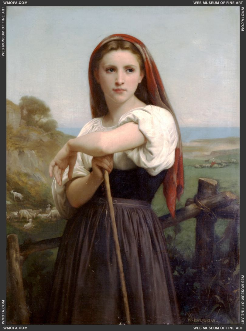 Jeune Bergere - Young Shepherdess 1868 by Bouguereau, William