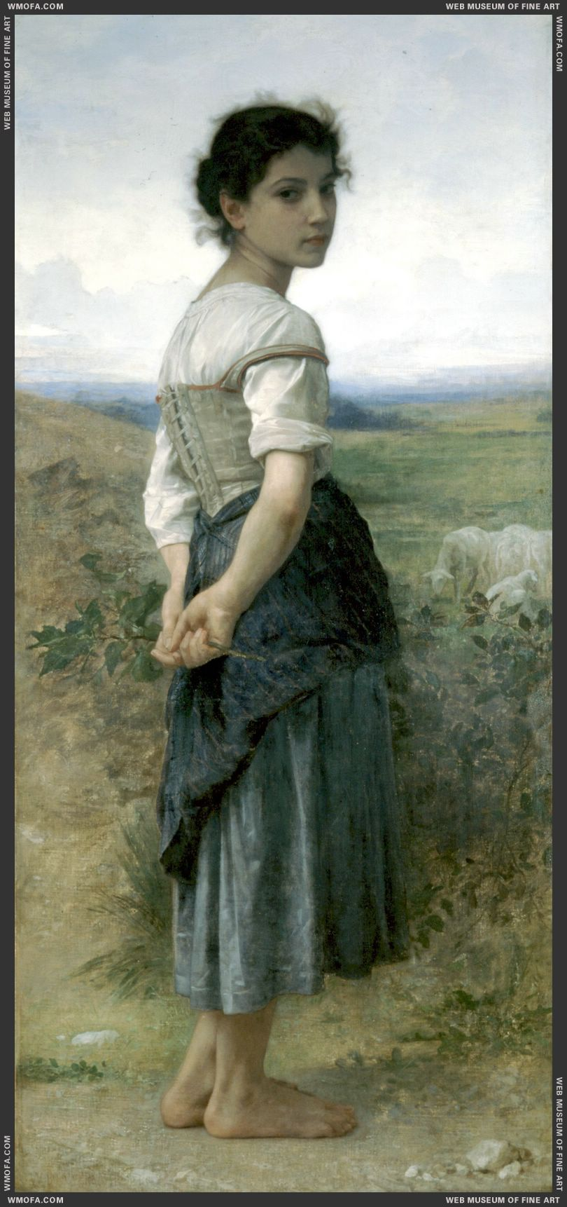 Jeune Bergere - Young Shepherdess 1885 by Bouguereau, William