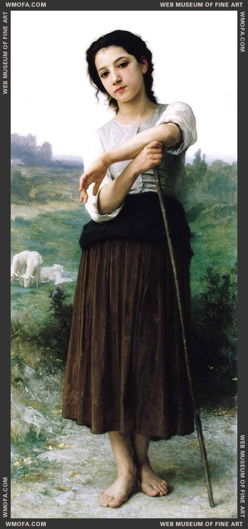 Jeune Bergere Debout - Young Shepherdess Standing 1887 by Bouguereau, William