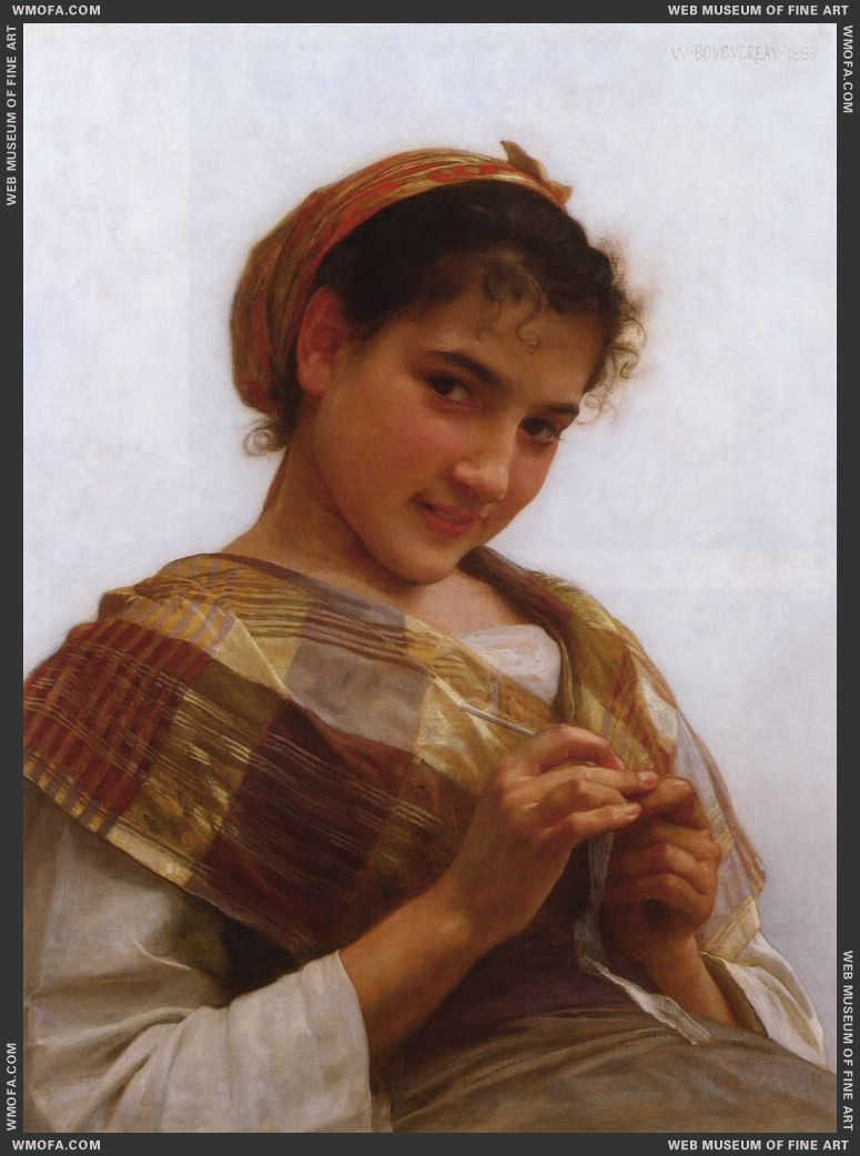 Jeune Fille au Crochet - Young Girl Crocheting 1889 by Bouguereau, William