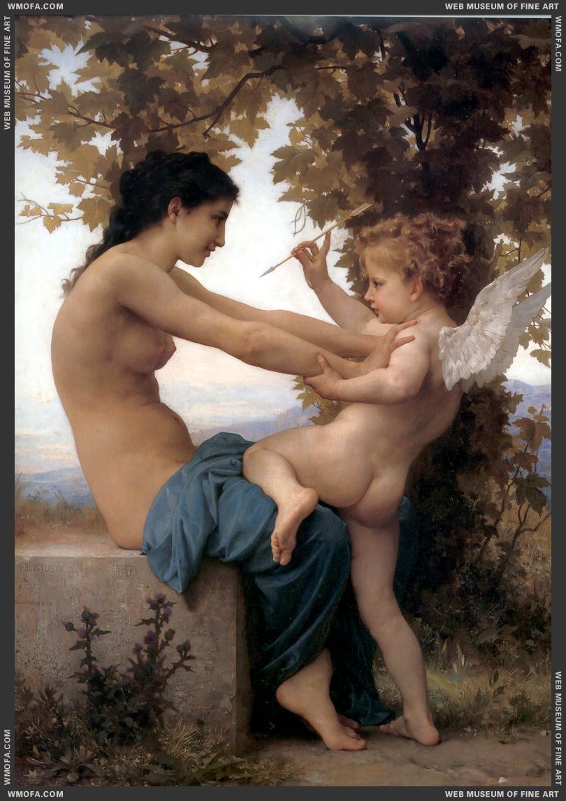 Jeune Fille se Defendant Contre Lamour - Young Girl Defending herself against Cupid 1880 by Bouguereau, William