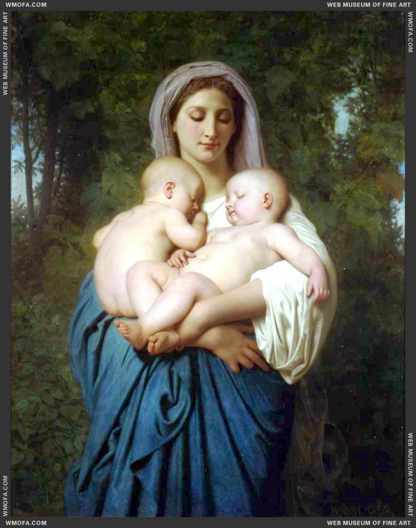 La Charite - Charity 1859 by Bouguereau, William