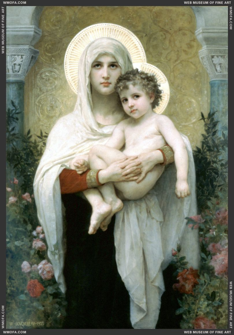 La Madone aux Roses - The Madonna of the Roses 1903 by Bouguereau, William