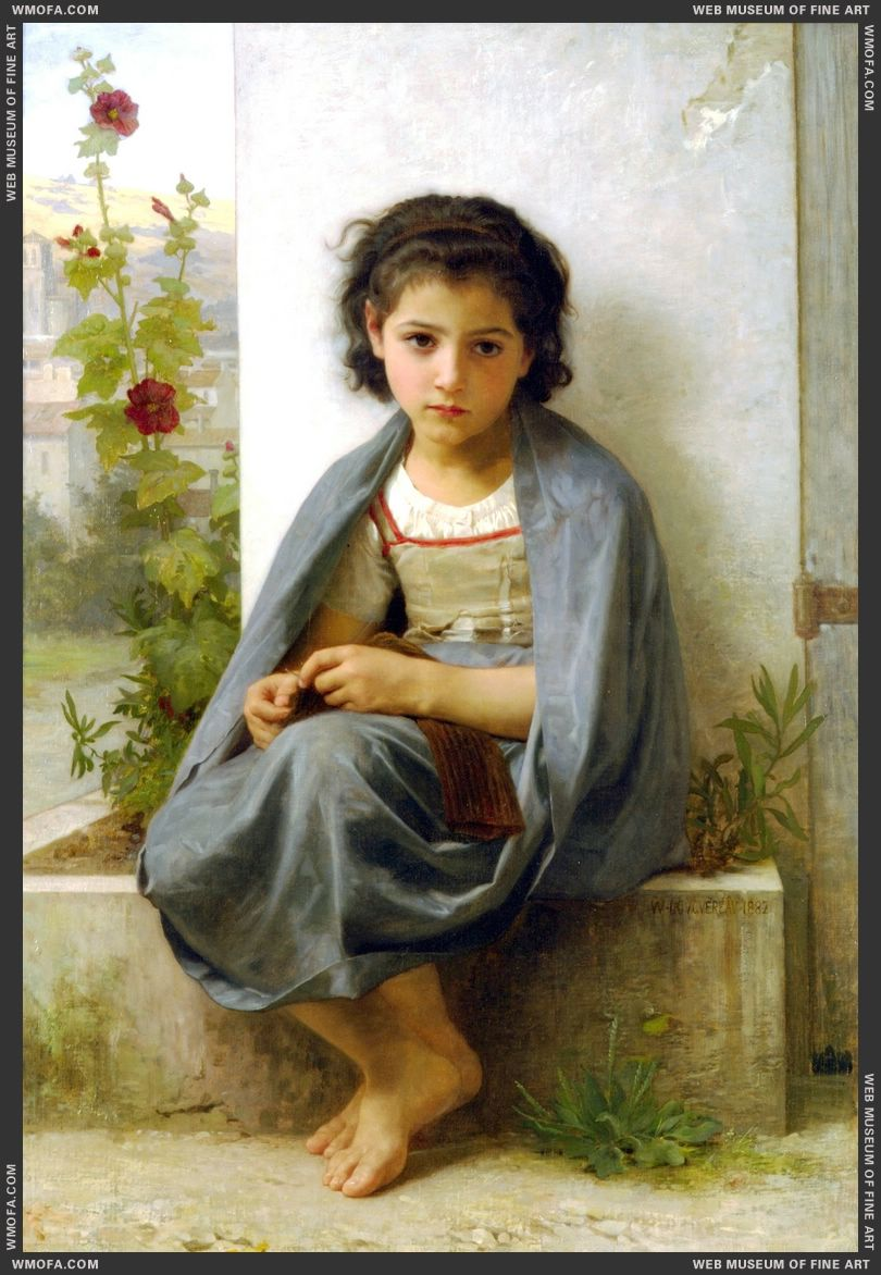 La Tricoteuse - The Little Knitter 1882 by Bouguereau, William