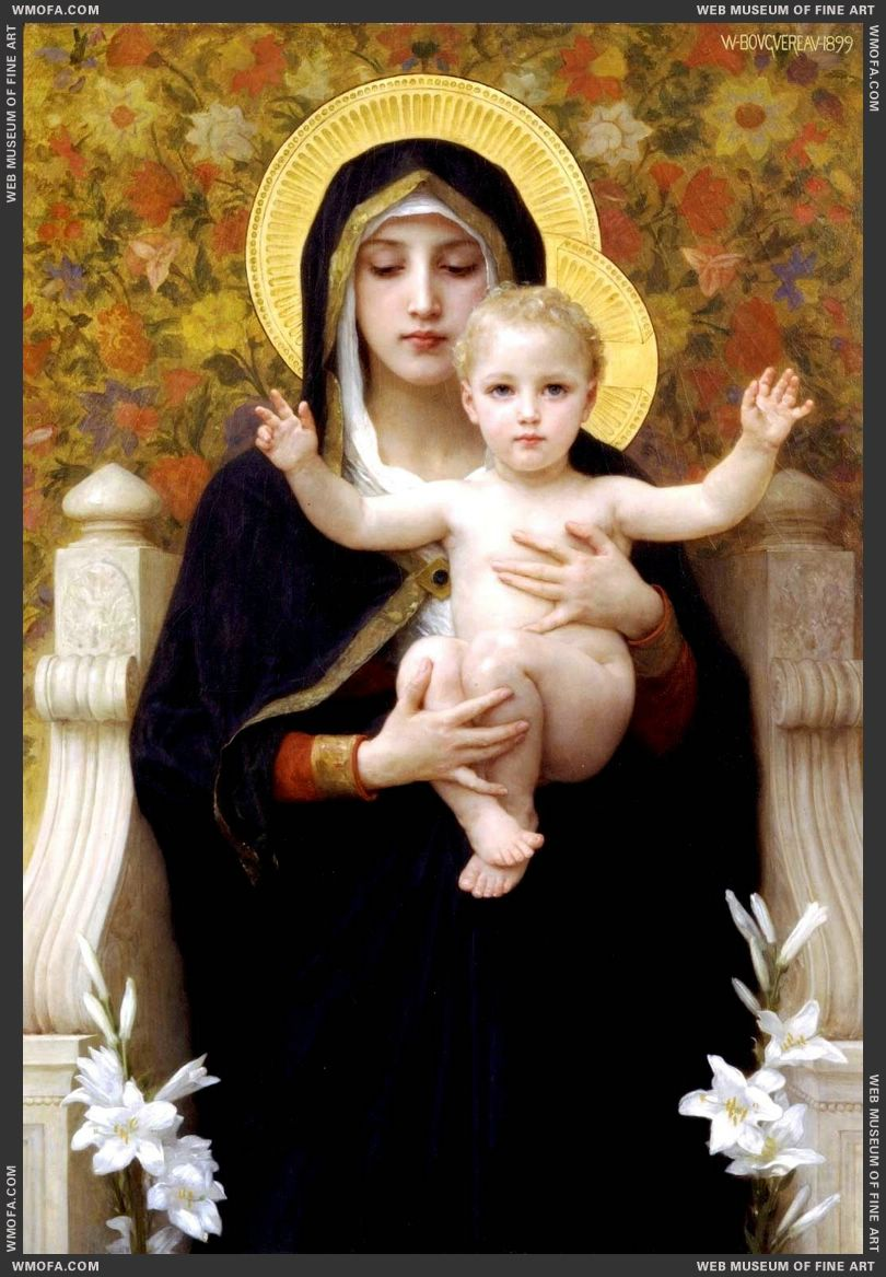 La Vierge au Lys - The Virgin of the Lilies 1899 by Bouguereau, William