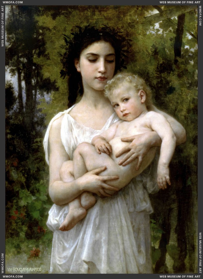 Le Jeune Frere - Little Brother 1900 by Bouguereau, William