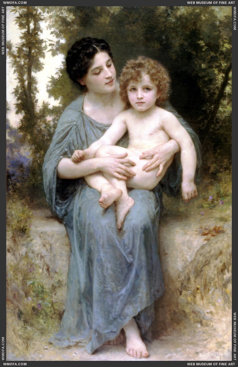 Le Jeune Frere - Little Brother 1902 by Bouguereau, William