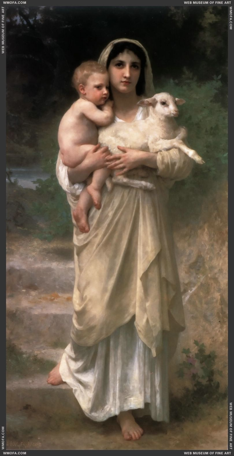 Les Agneaux - Lambs 1897 by Bouguereau, William