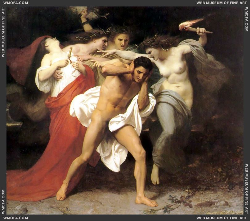 Les Remords dOreste - The Remorse of Orestes 1862 by Bouguereau, William