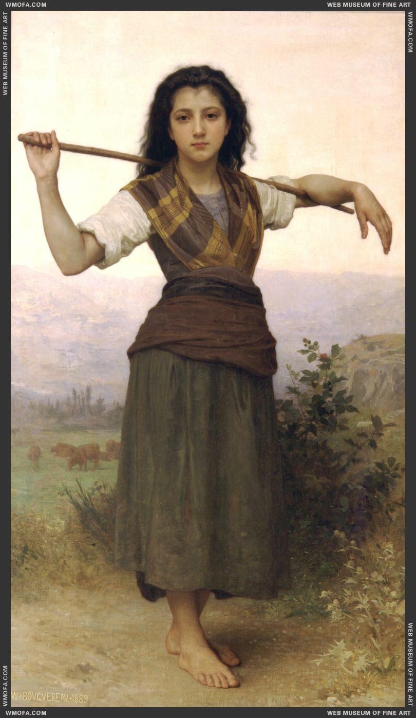 Pastourelle - Shepherdess 1889 by Bouguereau, William