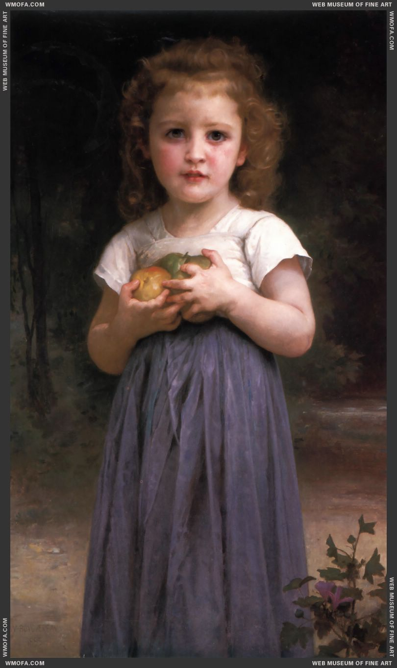 Petite Fille Tenant Des Pommes Dans les Mains - Little Girl Holding Apples in Her Hands 1895 by Bouguereau, William