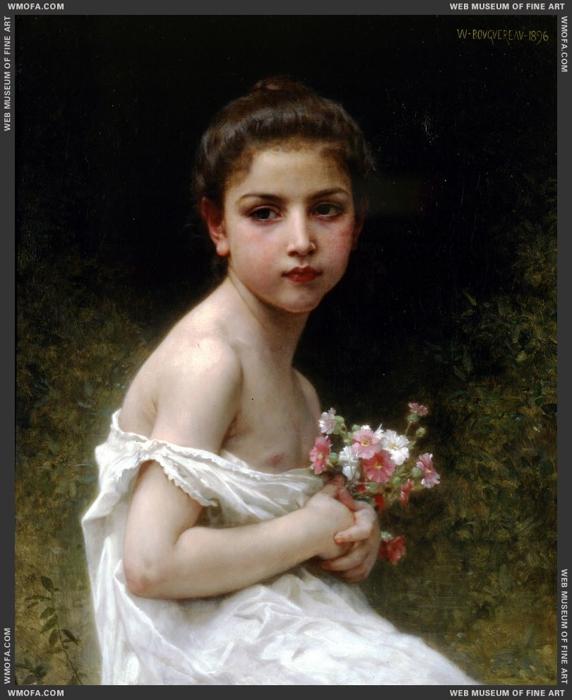 Petite Fille au Bouquet - Little Girl with a Bouquet 1896 by Bouguereau, William