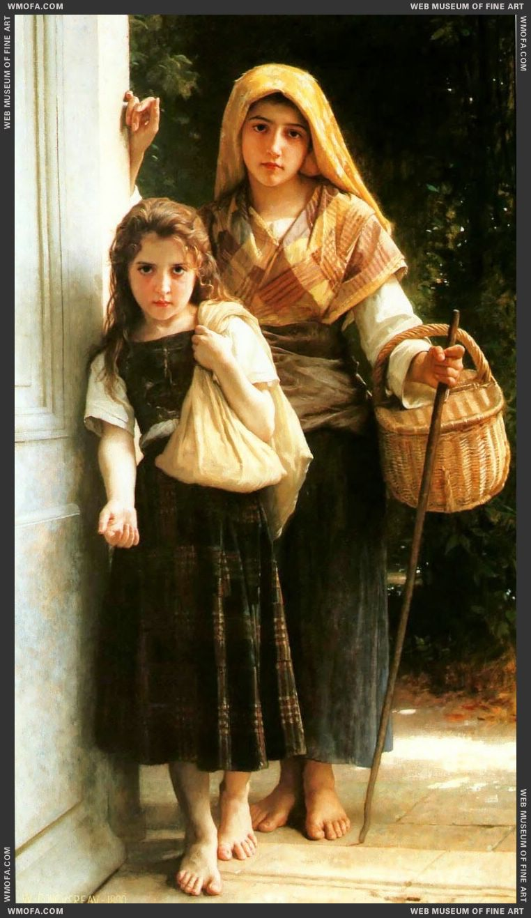 Petites Mendiantes - Little Beggars 1890 by Bouguereau, William