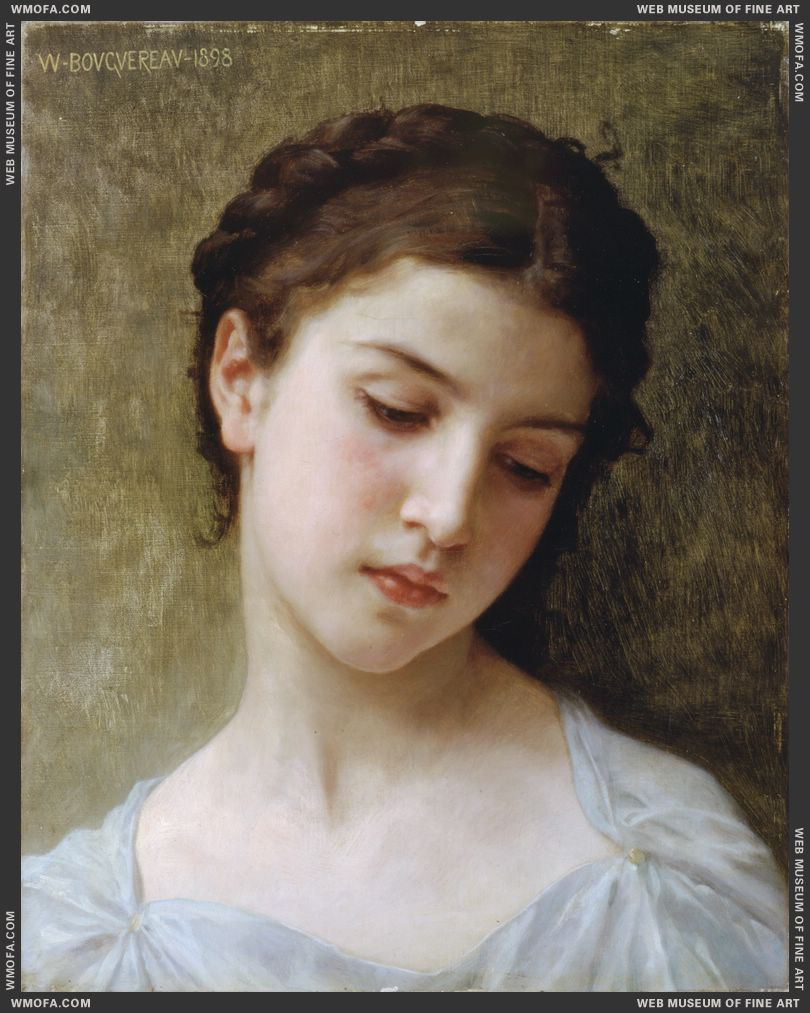 Study of Head of a Young Girl 1898 by Bouguereau, William