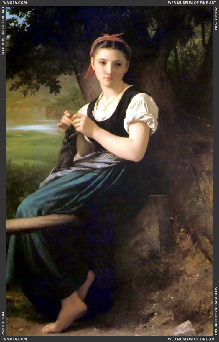 Tricoteuse - The Knitter 1869 by Bouguereau, William