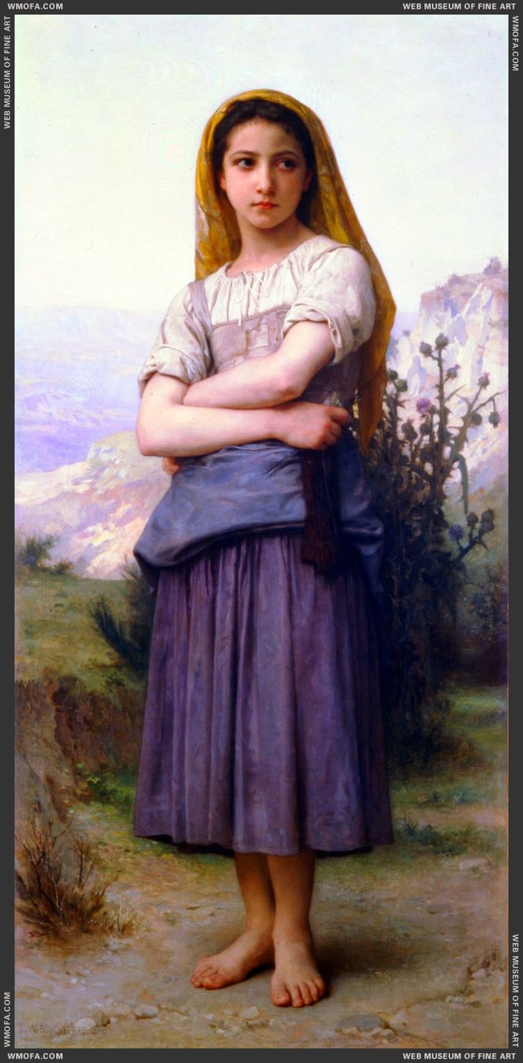 Tricoteuse - The Knitter 1884 by Bouguereau, William