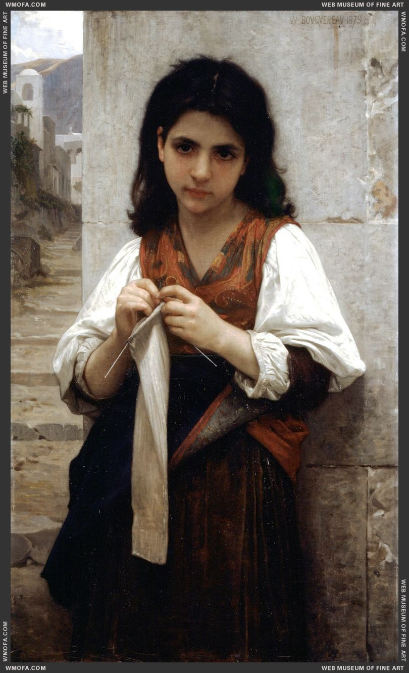 Tricoteuse - The Little Knitter 1879 by Bouguereau, William
