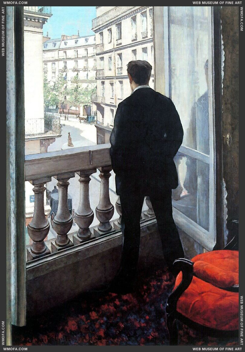 A Young Man at His Window 1875 by Caillebotte, Gustave