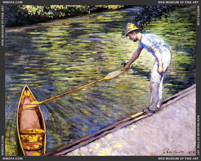 Boater Pulling on His Perissoire 1878 by Caillebotte, Gustave