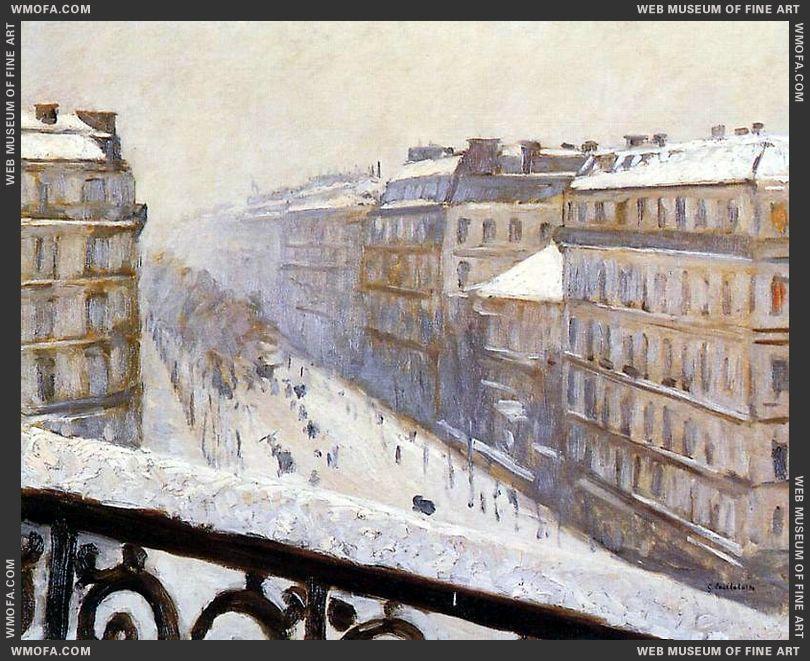 Boulevard Haussmann Snow c1880 by Caillebotte, Gustave