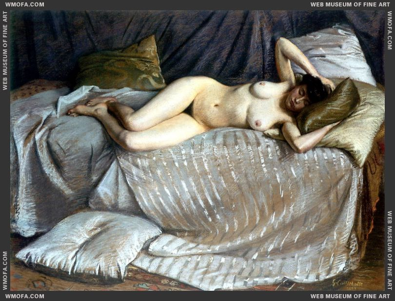Femme Nue Etendue Sur Un Divan - Naked Woman Lying on a Couch 1873 by Caillebotte, Gustave