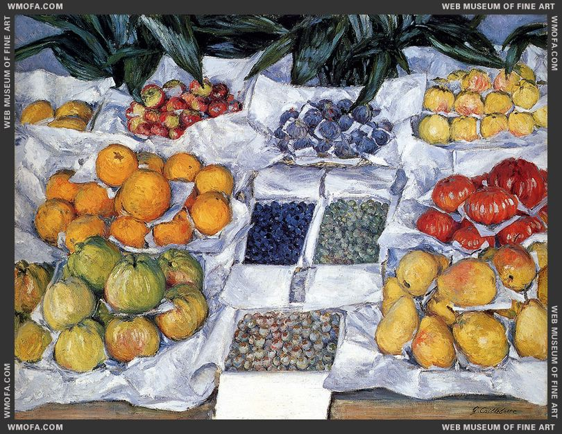 Fruit Displayed on a Stand c1881-1882 by Caillebotte, Gustave