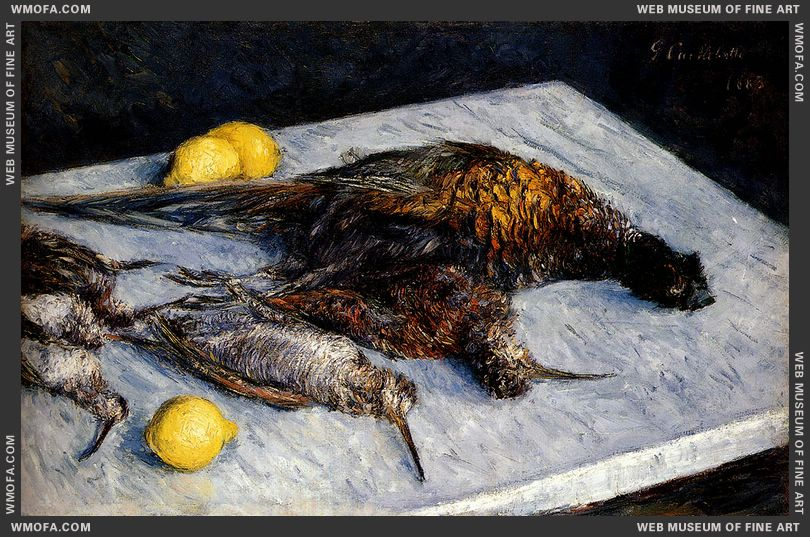 Game Birds And Lemons 1883 by Caillebotte, Gustave