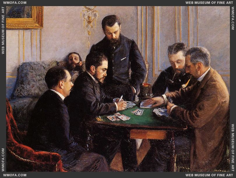 Game of Bezique 1880 by Caillebotte, Gustave