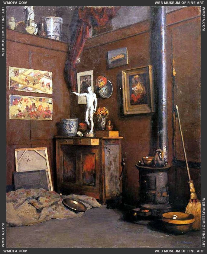 Interior of a Studio with Stove c1872-1874 by Caillebotte, Gustave