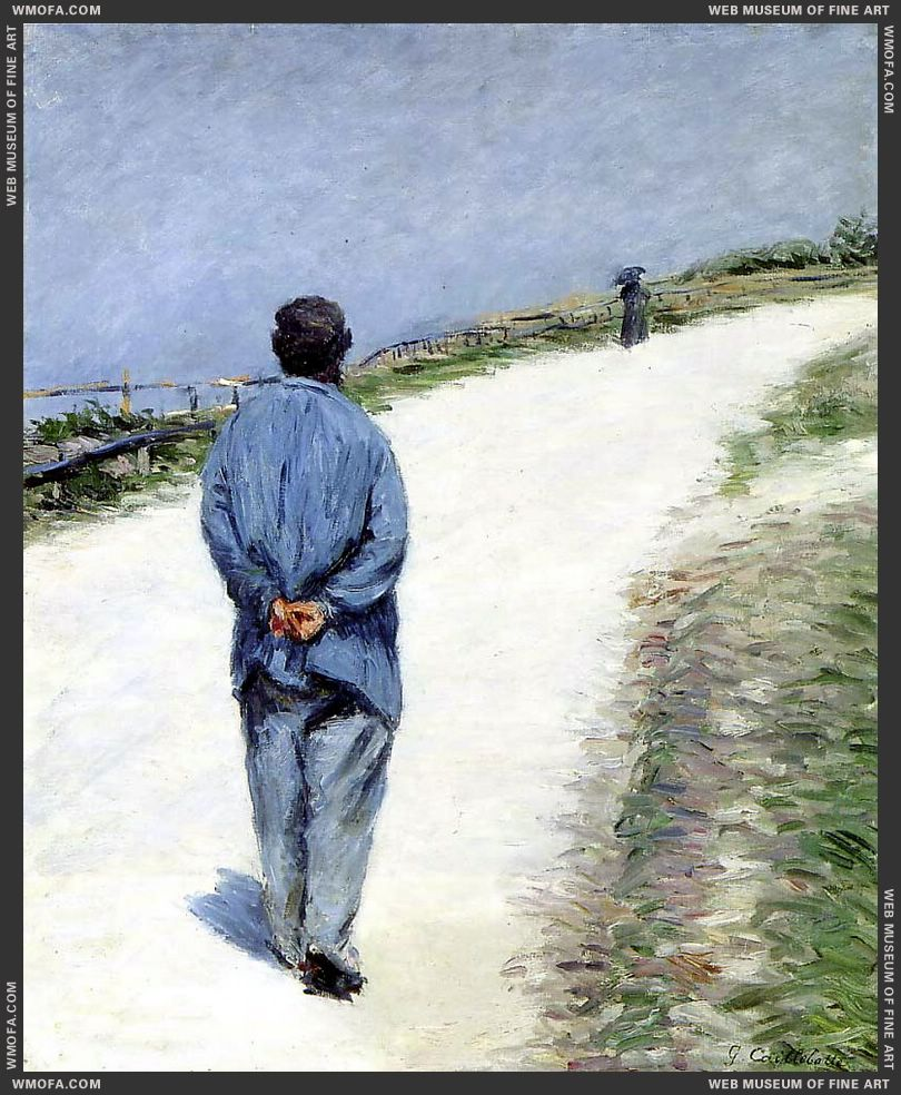 Man in a Smock - Father Magloire on the Road between Saint Clair and Etretat 1884 by Caillebotte, Gustave