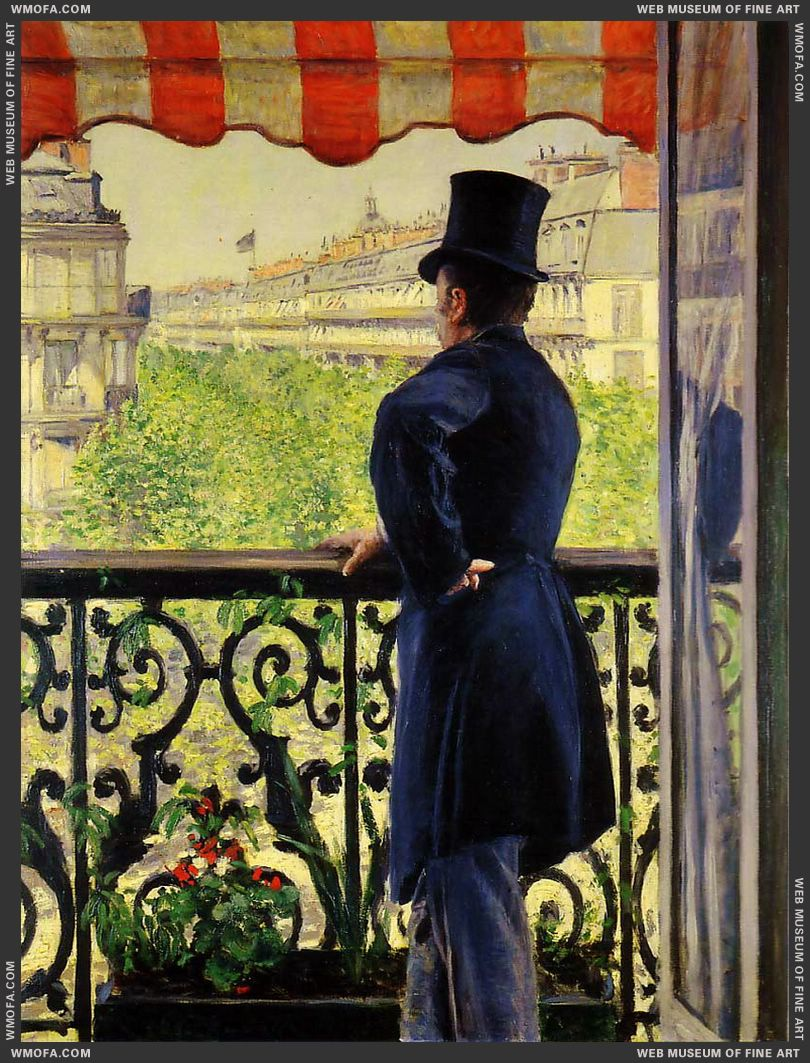 Man on a Balcony 1880 by Caillebotte, Gustave