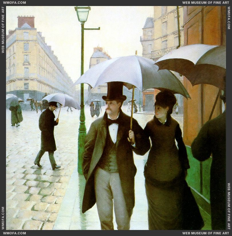 Paris Street Rainy Day - La Place de l-Europe Temps de Pluie - detail - 1877 by Caillebotte, Gustave