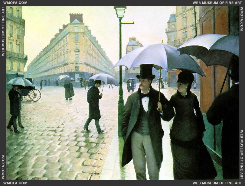 Paris Street Rainy Day - La Place de l-Europe Temps de Pluie 1877 by Caillebotte, Gustave
