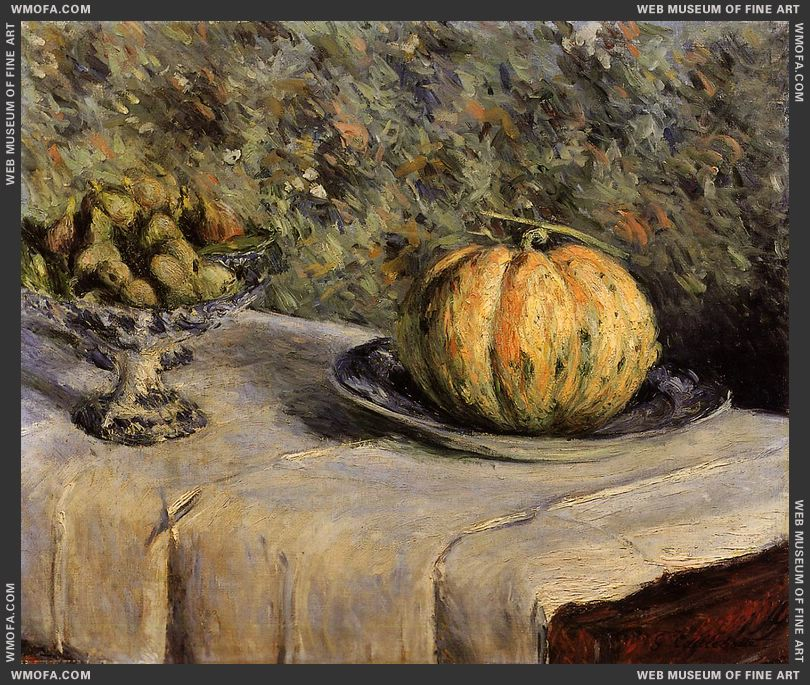 Pumpkin and Bowl of Figs 1880-1882 by Caillebotte, Gustave