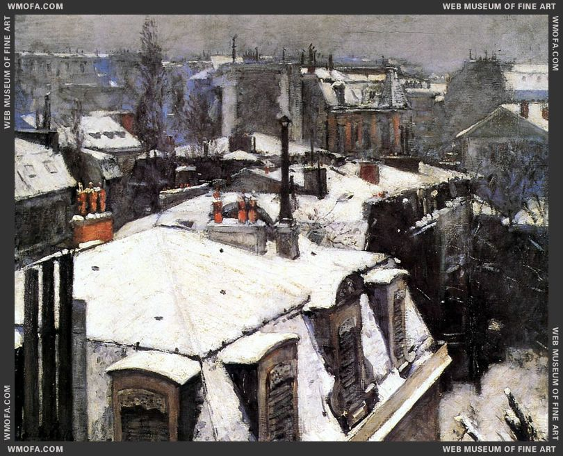Rooftops Under Snow 1878 by Caillebotte, Gustave