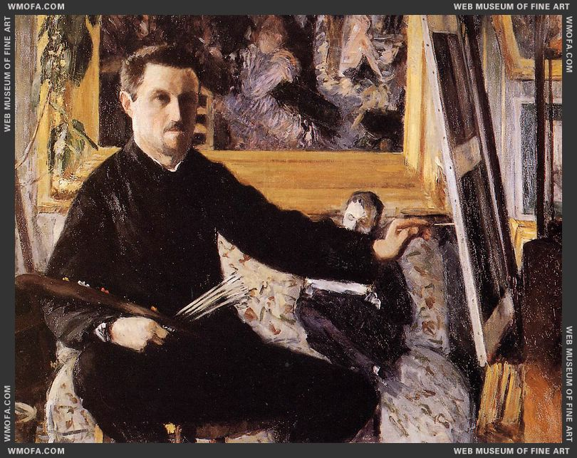 Self-Portrait with Easel c1879-1880 by Caillebotte, Gustave