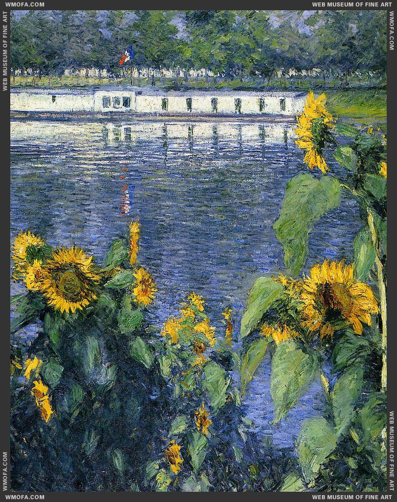 Sunflowers on the Banks of the Seine c1886 by Caillebotte, Gustave