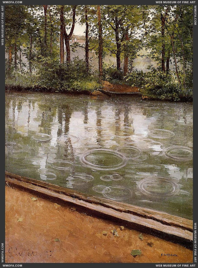 The Yerres Rain - Riverbank in the Rain 1875 by Caillebotte, Gustave
