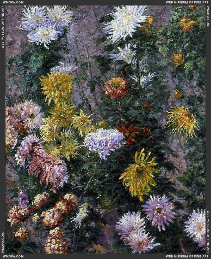 White and Yellow Chrysanthemums Garden at Petit Gennevilliers 1893 by Caillebotte, Gustave